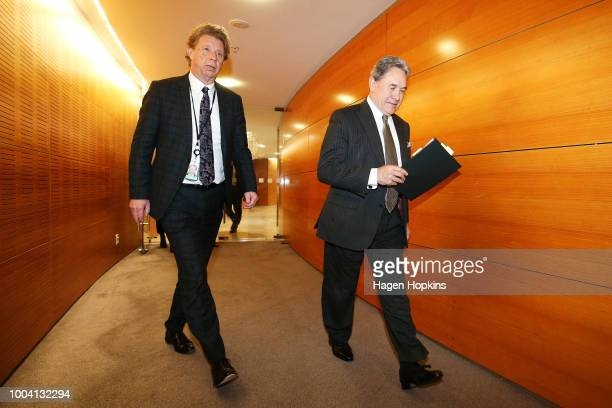 Acting Prime Minister Winston Peters arrives with New Zealand First Chief of Staff Jon Johansson for a post-cabinet press conference at Parliament on...