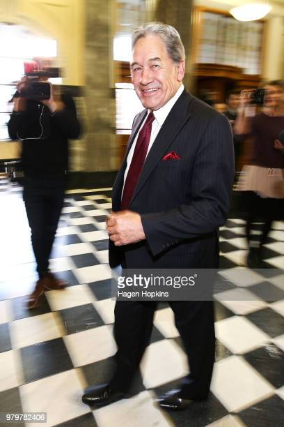 Acting Prime Minister Winston Peters looks on after speaking to media at Parliament on June 21 2018 in Wellington New Zealand Peters becomes Acting...