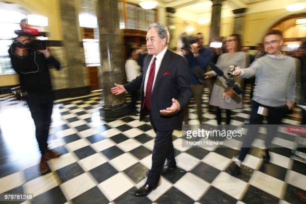 Acting Prime Minister Winston Peters speaks to media at Parliament on June 21 2018 in Wellington New Zealand Peters becomes Acting Prime Minister for...