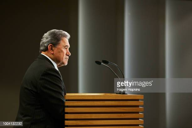 Acting Prime Minister Winston Peters speaks to media during a post-cabinet press conference at Parliament on July 23, 2018 in Wellington, New...
