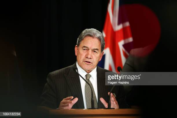 Acting Prime Minister Winston Peters speaks to media during a postcabinet press conference at Parliament on July 23 2018 in Wellington New Zealand...