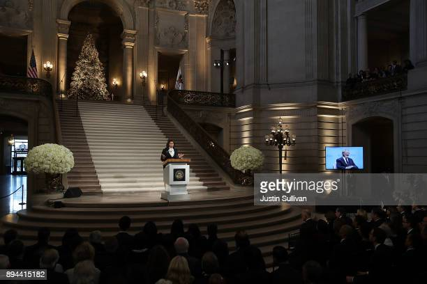 Acting San Francisco mayor London Breed speaks during a Celebration of Life Service held for the late San Francisco Mayor Ed Lee on December 17 2017...