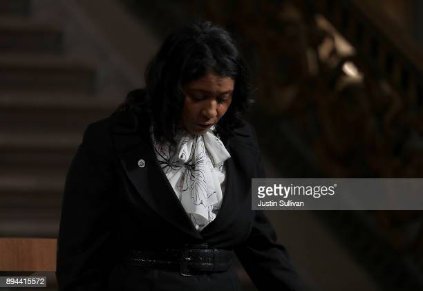Acting San Francisco mayor London Breed walks off stage after speaking during a Celebration of Life Service held for the late San Francisco Mayor Ed...