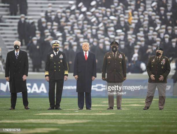Acting Secretary of Defense, Christopher C. Miller, United States Naval Academy Superintendent Vice Admiral Sean Buck, President Donald Trump,...
