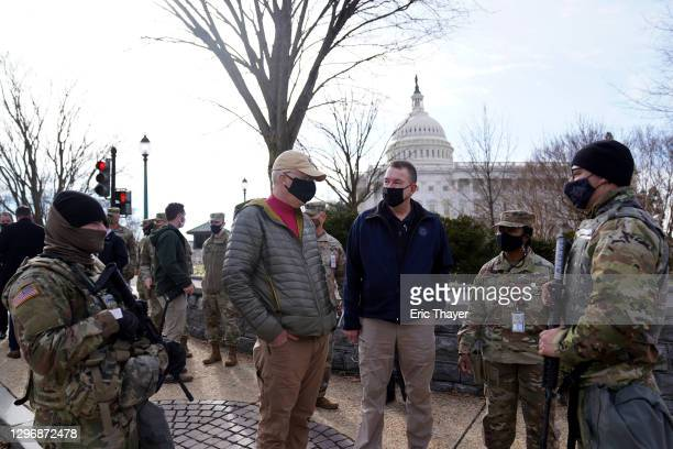 Acting Secretary of Defense Christopher Miller meets with members of the National Guard outside the U.S. Capitol on January 17, 2021 in Washington,...