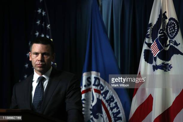 Acting Secretary of Homeland Security Kevin McAleenan conducts a news conference at the Immigration and Customs Headquarters on June 28 2019 in...