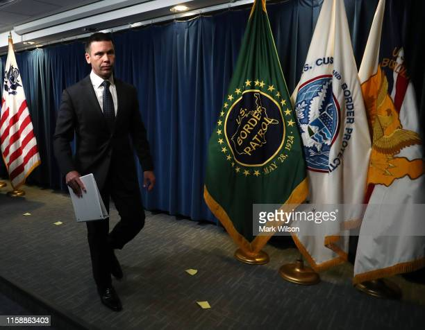 Acting Secretary of Homeland Security Kevin McAleenan walks away after a news conference at the Immigration and Customs Headquarters on June 28 2019...