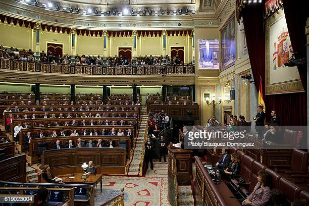 Acting Spanish Prime Minister Mariano Rajoy speaks during the final day of the investiture debate at the Spanish Parliament on October 29, 2016 in...