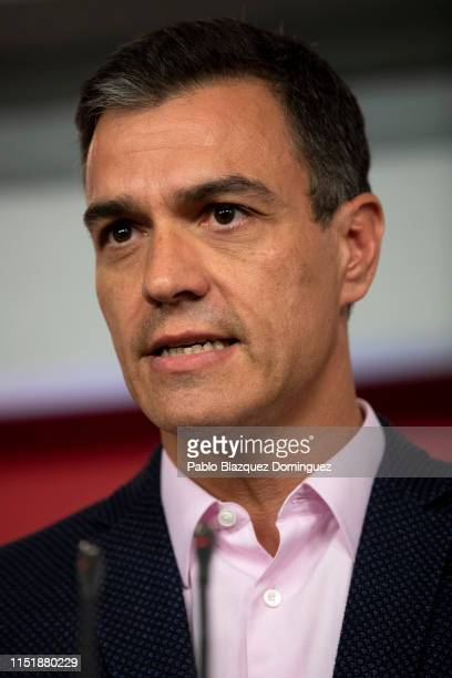 Acting Spanish Prime Minister Pedro Sanchez speaks to the press following the elections results at PSOE party headquarters on May 26 2019 in Madrid...