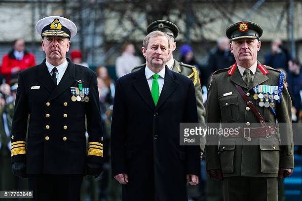Acting Taoiseach Enda Kenny at the Easter Sunday Commemoration Ceremony and Parade from OConnell Street on March 27 2016 in Dublin Ireland Today...
