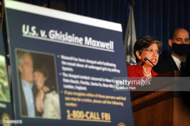Acting United States Attorney for the Southern District of New York Audrey Strauss speaks to the media at a press conference to announce the arrest...