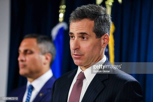 Acting United States Attorney Nathaniel R. Mendell speaks during a press conference at the Moakley Federal Courthouse in Boston on June 30, 2021 to...