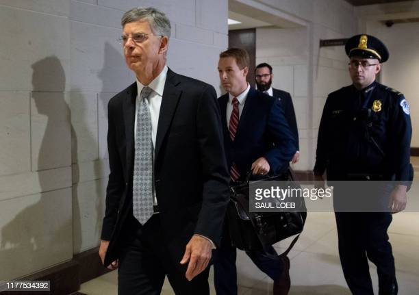 Acting US Ambassador to Ukraine Bill Taylor arrives for a deposition in the House Impeachment inquiry on Capitol Hill in Washington DC October 22 2019