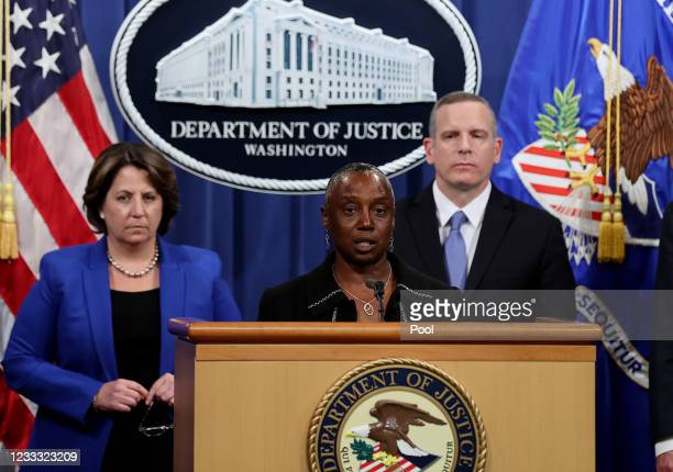 Acting U.S. Attorney for the Northern District of California Stephanie Hinds speaks at a press conference with Deputy U.S. Attorney General Lisa...