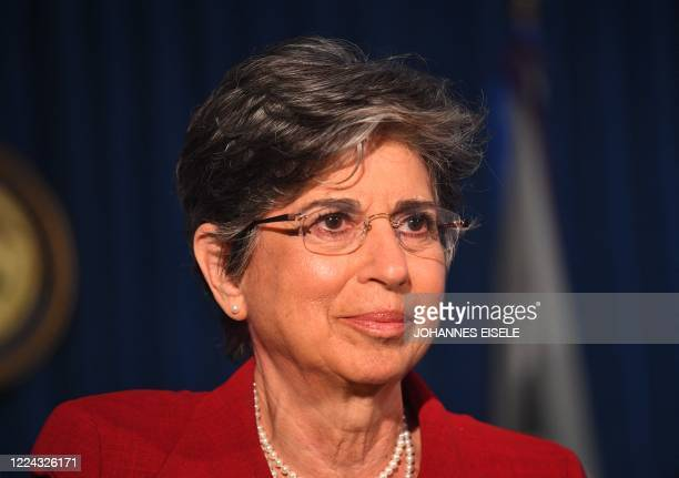 Acting US Attorney for the Southern District of New York Audrey Strauss announces charges against Ghislaine Maxwell during a July 2 press conference...