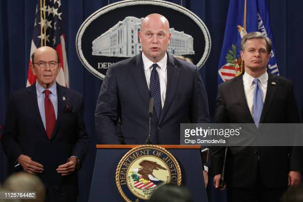 Acting US Attorney General Matthew Whitaker announces new criminal charges against Chinese telecommunications giant Huawei with Federal Bureau of...