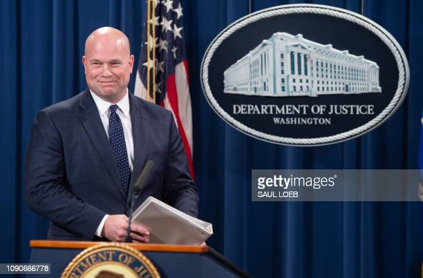 Acting US Attorney General Matthew Whitaker arrives to announce a 13count indictment of financial fraud charges against Chinese telecommunications...
