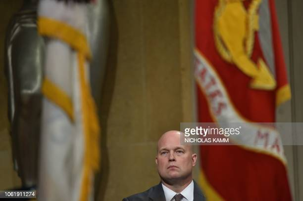 Acting US Attorney General Matthew Whitaker attends the annual Veterans Appreciation Day ceremony at the Department of Justice in Washington DC on...