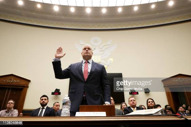 Acting US Attorney General Matthew Whitaker is sworn in before testifying to the House Judiciary Committee in the Rayburn House Office Building on...