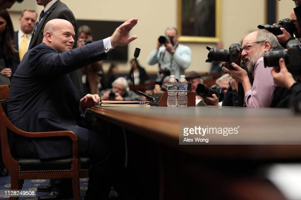 Acting US Attorney General Matthew Whitaker prepares to testify before the House Judiciary Committee in the Rayburn House Office Building on Capitol...