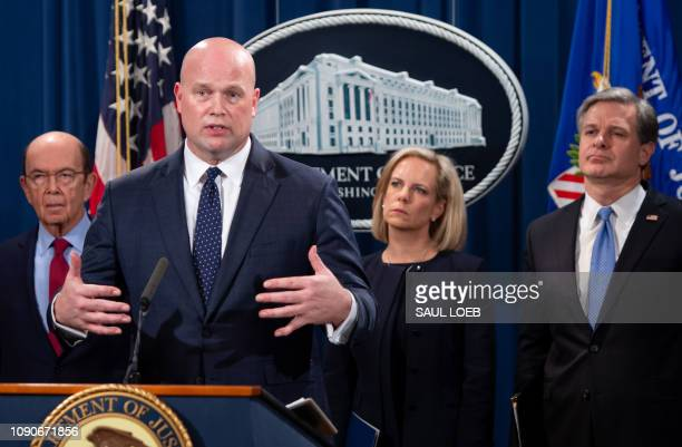 Acting US Attorney General Matthew Whitaker Secretary of Homeland Security Kirstjen Nielsen Commerce Secretary Wilbur Ross and FBI Director...