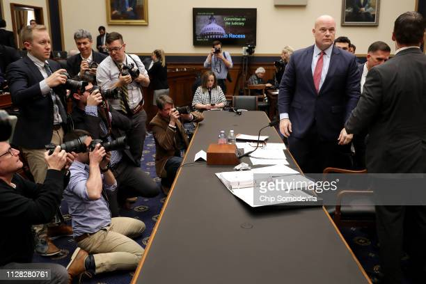 Acting U.S. Attorney General Matthew Whitaker takes a break while testifying before the House Judiciary Committee in the Rayburn House Office...