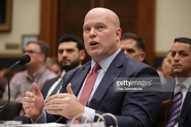 Acting US Attorney General Matthew Whitaker testifies before the House Judiciary Committee in the Rayburn House Office Building on Capitol Hill...