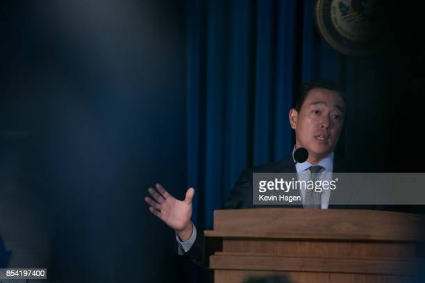 Acting US Attorney Joon H Kim speaks during a press conference at the US Attorneyâs Office Southern District of New York on September 26 2017 in New...