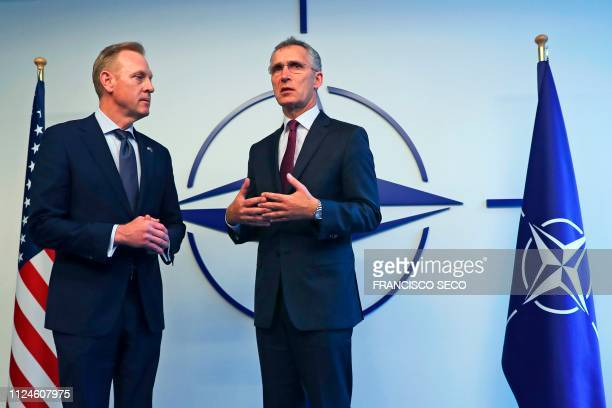 Acting US Defence Secretary Patrick Shanahan and NATO Secretary General Jens Stoltenberg speak to the media during the North Atlantic Council Defence...