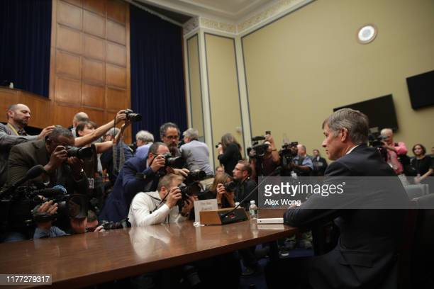 Acting US Director of National Intelligence Joseph Maguire prepares to testify before the House Select Committee on Intelligence in the Rayburn House...