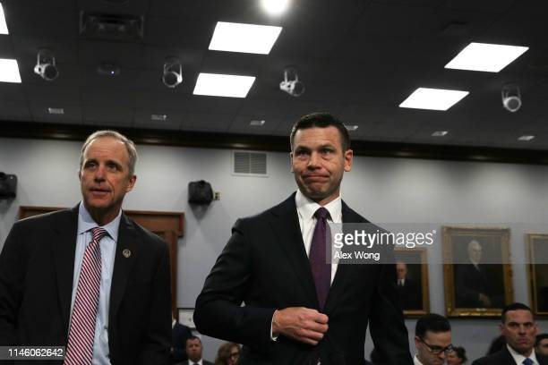 Acting US Homeland Security Secretary Kevin McAleenan and Acting Under Homeland Security Secretary for Management Chip Fulghum arrive at a hearing...