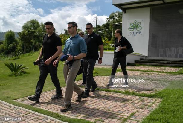 Acting US Homeland Security Secretary Kevin McAleenan leaves after meeting with Guatemalan farmers on May 29 2019 in Santa Rosa Guatemala McAleenan...