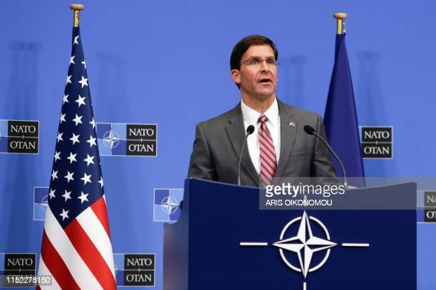 Acting US Secretary for Defence Mark Esper gives a news conference during the NATO Defence Ministers meeting in Brussels on June 27 2019