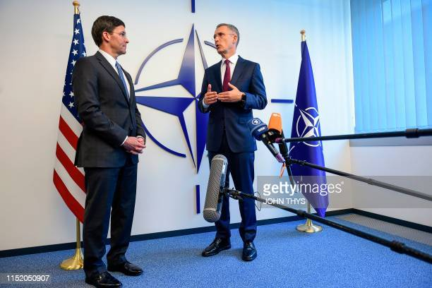 Acting US Secretary for Defense Mark Esper and NATO Secretary General Jens Stoltenberg give a joint press conference during a Defence Ministers...