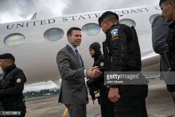 Acting US Secretary of Homeland Security Kevin McAleenan thanks Guatemalan paramilitary police before he departed the country on May 30 2019 in...