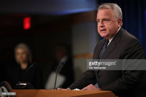 Acting US Secretary of State John Sullivan speaks on the release of the 2017 Country Reports on Human Rights Practices at April 20 at the US...