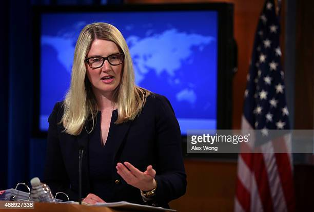 Acting US State Department spokesperson Marie Harf conducts a daily press briefing at the State Department April 8 2015 in Washington DC Harf spoke...