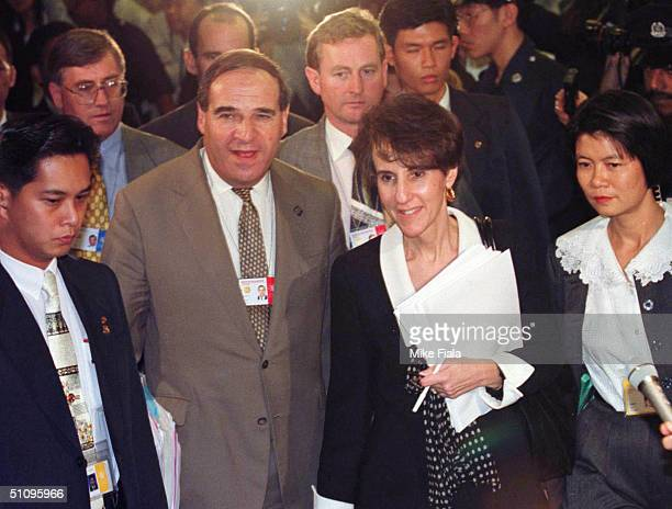 Acting Us Trade Representative Charlene Barshefsky And European Union Trade Commissioner Sir Leon Brittan Emerge From Their Meeting At The World...