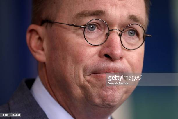 Acting White House Chief of Staff Mick Mulvaney answers questions during a briefing at the White House October 17 2019 in Washington DC Mulvaney...