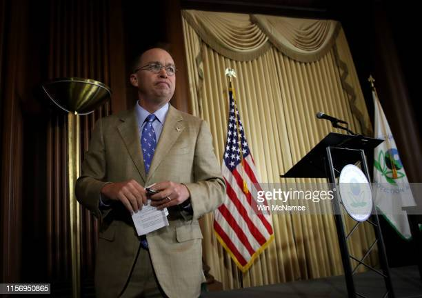 Acting White House Chief of Staff Mick Mulvaney concludes his remarks after Environmental Protection Agency Administrator Scott Wheeler signed the...