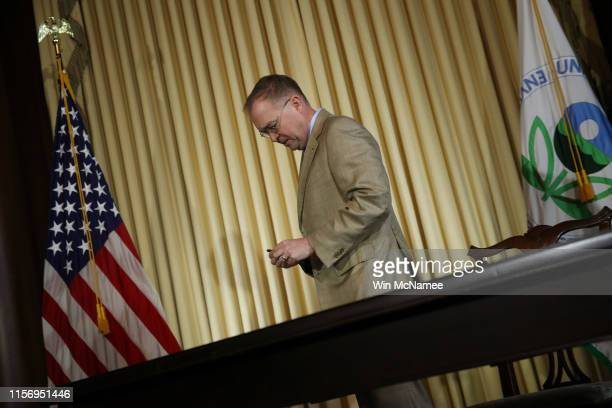 Acting White House Chief of Staff Mick Mulvaney delivers attends a ceremony where Environmental Protection Agency Administrator Scott Wheeler signed...