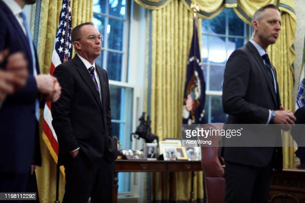 Acting White House Chief of Staff Mick Mulvaney listens during a meeting between US President Donald Trump and Prime Minister of Greece Kyriakos...