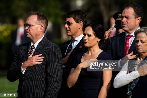Acting White House Chief of Staff Mick Mulvaney Principal Deputy Press Secretary Hogan Gidley and White House Press Secretary Stephanie Grisham...