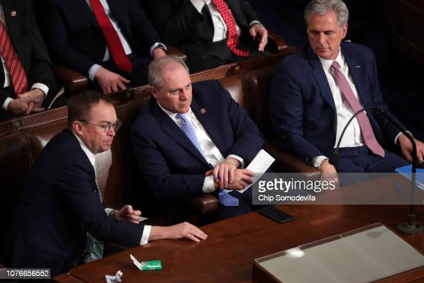 Acting White House Chief of Staff Mick Mulvaney Rep Steve Scalis and House Majority Leader Kevin McCarthy during the first session of the 116th...