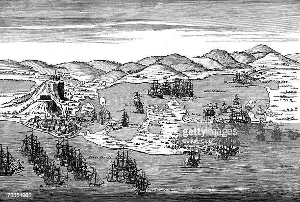 Action at Carthagena Colombia 1741 Engraving from drawing by Gravelot Failed largescale attack by British and American colonial troops led by English...