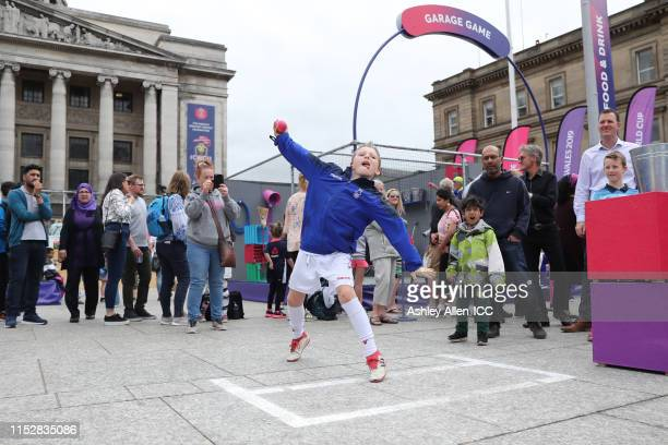 Action at the Nottingham fanzone during the ICC Cricket World Cup 2019 at Old Market Square on May 31, 2019 in Nottingham, England.