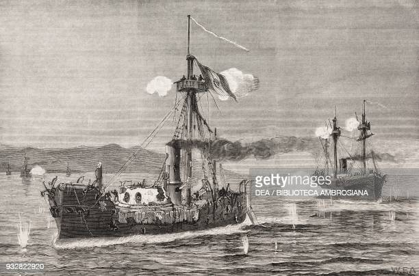 Action between Peruvian turret ship Huascar and the Chillian ironclads Almirante Cochrane and Blanco Encalada off Mejillones October 8 War of the...
