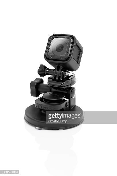 Action camera held on a suction mount