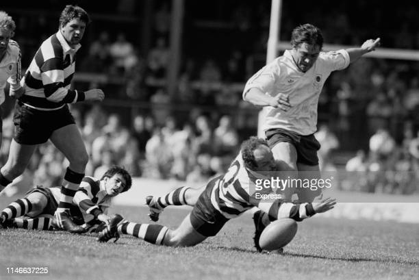 Action during Bath vs Bristol rugby match at Twickenham Stadium, Greater London, UK, 28th April 1984.