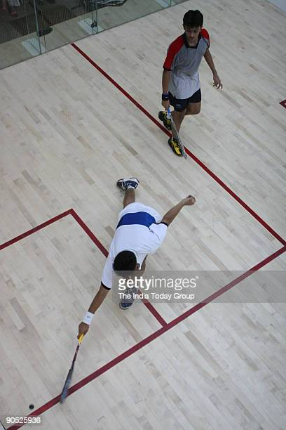 Action during mens final of Inter State Squash Championship between Shakti Singh and Parth Sharma at Delhi Gymkhana Club
